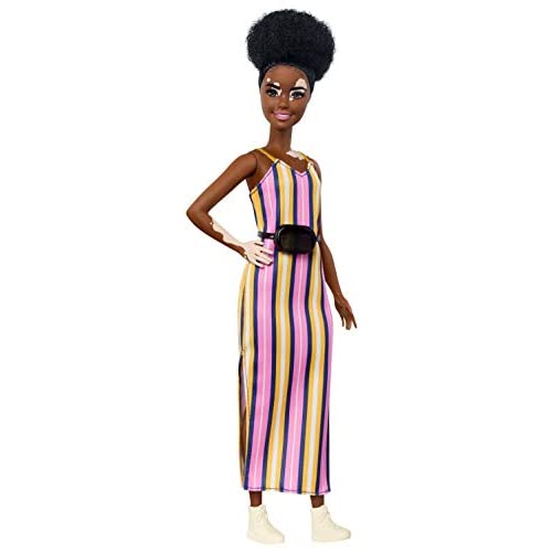 Barbie Fashionistas Doll with Vitiligo and Curly Brunette Hair Wearing Striped Dress and Accessories, for 3 to 8 Year Olds​