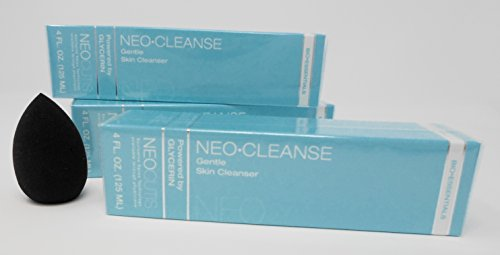 Neocutis Neo-Cleanse- Gentle Skin Cleanser 4.0fl. oz, (3-Pack)Vantage Point Trading Anti-Aging Cosmetic Blender Sponge Bundle.