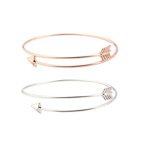 Skinny Bow and Arrow Bangle Adjustable Cuff Bracelet (Silver+Rose gold)