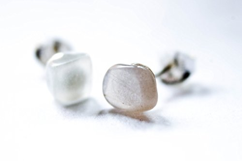 Moonstone Earrings - Gemstone Sterling Silver Post Earrings (Moonstone Silver Brooch)
