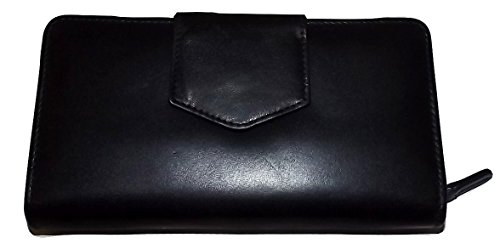 (Italia Leather Women's RFID Blocking Credit Card & Checkbook Clutch Wallet Black)