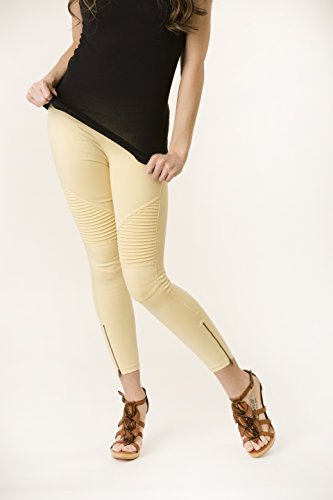 SALE! Beulah Moto Zip Leggings New Spring Colors: Yellow, Light Blue, Light Green