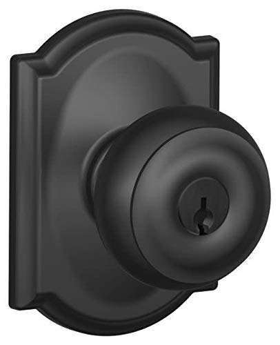 Schlage F51-GEO-CAM Georgian Keyed Entry F51A Panic Proof Door Knob with Camelot, Matte Black