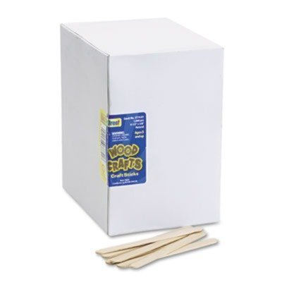 Chenille Kraft Products - Chenille Kraft - Natural Wood Craft Sticks, 4 1/2 X 3/8, Natural Wood, 1000/Box - Sold As 1 Box - Use for building, mixing, spreading paste and creating craft projects. (Stirrers Box)