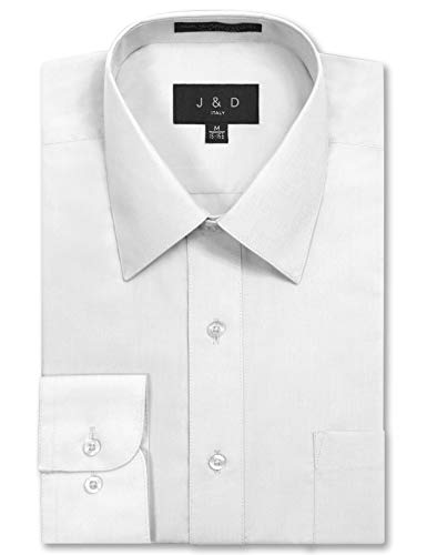 Mens S/s Shirt - JD Apparel Men's Long Sleeve Regular Fit Solid Dress Shirt 16-16.5 N 36-37 S White,Large