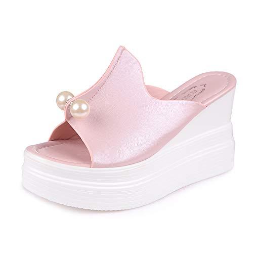 Women's Open Toe Platform Wedge Slippers Thick-Bottom Pearl Waterproof Wedge Sandals Shoes