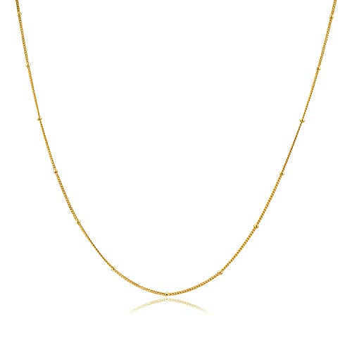 - D-DANGLE Choker Necklace in 14K Gold Plated Sterling Silver Satellite Beaded Chain Necklace for Women (Gold+5cm Extra Extender)