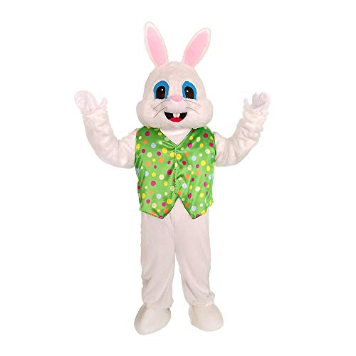 Green Vest Plush Easter Rabbit Mascot Costumes Men's Deluxe Easter Bunny Costume -