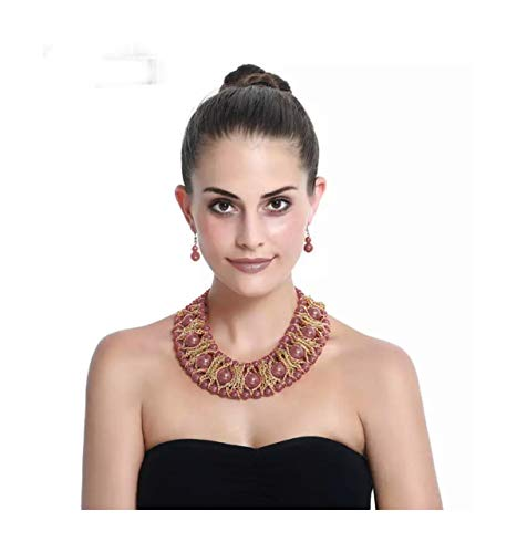 Nataliya Rosegold African Bib Statement Necklace and Earrings Set