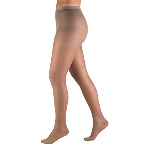 Truform Sheer Compression Pantyhose, 15-20 mmHg, Women's Shaping Tights, 20 Denier, Taupe, Queen Plus