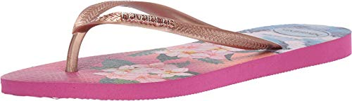 Havaianas Women's Slim Tropical Sunset Sandal, Hollywood Rose, 6