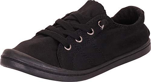 - Cambridge Select Women's Closed Round Toe Slip-On No Tie Stretch Lace Fashion Sneaker,7.5 B(M) US,Black/Black