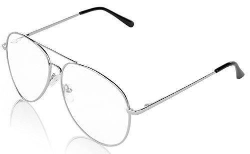 E&H Aviator Sunglasses for Men and Women Pilot Clear Silver - Mens Fashionable Glasses