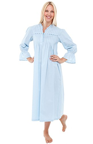 Alexander Del Rossa Womens Romeo and Juliet Cotton Nightgown, Bell Sleeve Victorian Sleepwear, XX-Large Sea Breeze Blue (A0522LBL2X) ()