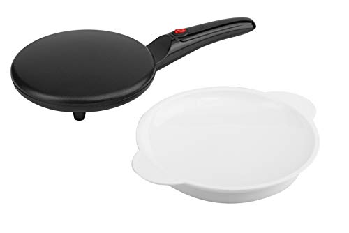 Moss & Stone 8″ Electric Crepe Maker I Pan Style I Hot Plate Cooktop I ON/OFF Switch I Nonstick Coating I Automatic Temperature Control I Easy to use I Pancakes, Blintz, Chapati, Tortillas