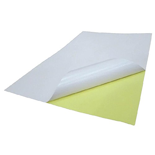GoldenTrading 100 x A4 White Glossy Self Adhesive Sticker Paper Full Sheet Label Laser Inkjet Print