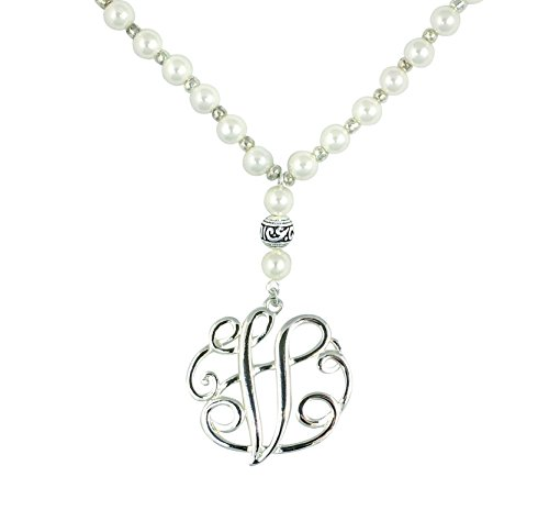 O3 Monogram Silver Tone Charm 6mm Glass Pearl Body Necklace 30
