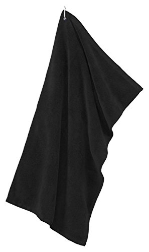 Port Authority - Grommeted Tri-Fold Golf Towel. >> One size,Black
