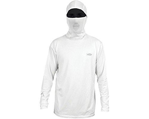 AFTCO Fish Ninja Ultra Performance Long Sleeve Shirt w/Hood - White - Large