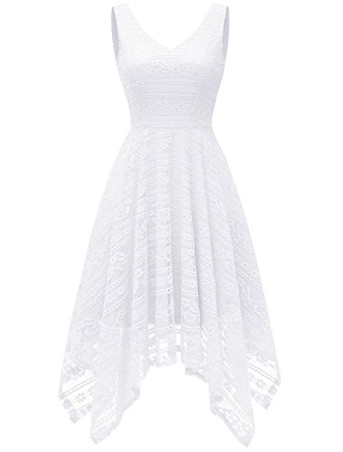 Modecrush Women's V Neck Asymmetrical Handkerchief Hem Floral Lace Cocktail Homecoming Dress