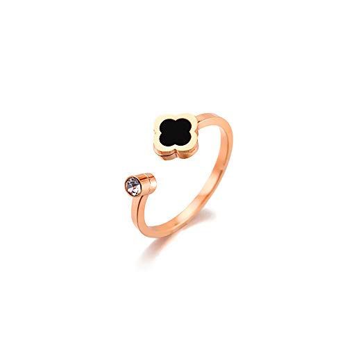 KOREA-JIAEN Clover Ring Titanium Plated Rose Gold Opening Ring Inlay Cubic Zircon Rings for Women ()