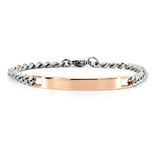 NEHZUS Mens and Womens Custom Engraving Stainless Steel Bracelets Personalized Gift for Couples (Rose Gold(Women))