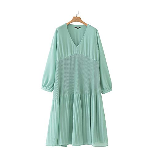 Jfoier bohimia skirt Women mid Chiffon Pleated Dress V Neck Long Sleeve Straight Draped Casual midi Dresses,Green,S,C -