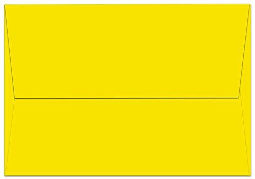 """100 Yellow A1 Envelopes - 5.125"""" x 3.625"""" - Square Flap"""