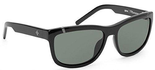 Mirror Rear View Polarized (Spy Optic Murena 671012062133 Round Sunglasses,Shiny Black Frame/Grey & Green Lens,One Size)