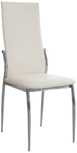 Furniture of America Nolan Modern Leatherette Dining Chair, White, Set of 2