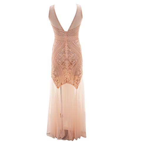 Landfox ✈Big Deep V NeckSequin Party Flapper Dress,Women's Vintage Sexy Perspective Unique Bead Dress Pink