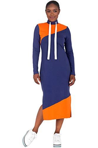 Poetic Justice Curvy Women's Athleisure Navy Drawstring Turtleneck Midi Dress Size S