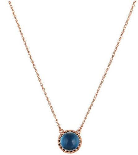 14k Rose Gold 6.35 Ct London Blue Topaz Necklace, 18'' by The Men's Jewelry Store
