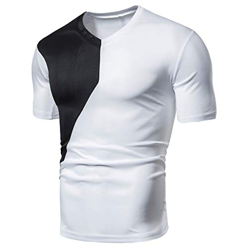 iHPH7 T Shirts for Men tees Men Shirt Men in Men's Clothing Fashion Men Fit Patchwork Short Sleeved T-Shirt Tops Blouse XXL 2- White -