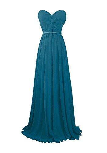 Sweetheart Teal Evening Fanciest Long Women's Prom Gowns Chiffon Dresses Bridesmaid qxFRpAa