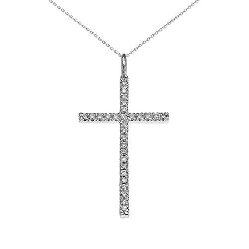 Collier Femme Pendentif 10 Ct Or Blanc Diamant Croix (Livré avec une 45cm Chaîne)