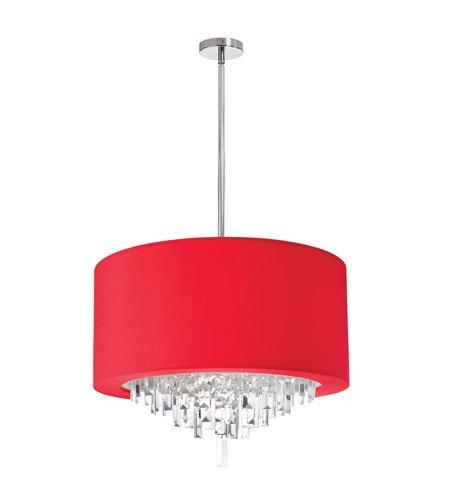 "Dainolite Lighting JAS-196C-PC-927 6-Light Crystal Chandelier with Red Lycra Drum Shader, 25"" x 19"" x 15"" from Dainolite Lighting"