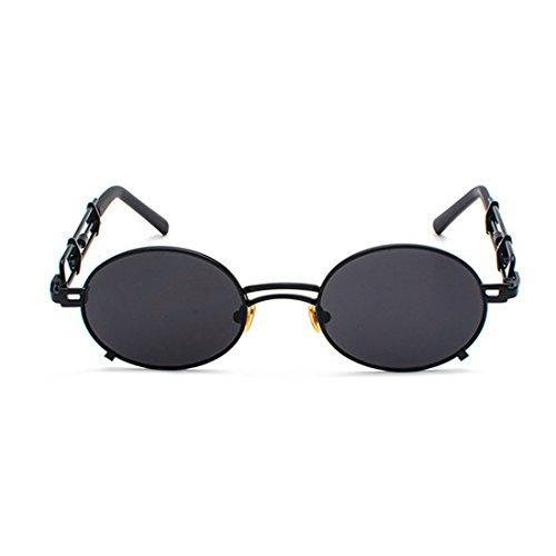 de Hombres Aiweijia de Tono Gafas recubrimiento Espejo Gafas mujeres sol y sol de Circular metal Gafas de de marco de gafas Negro rBt5wt