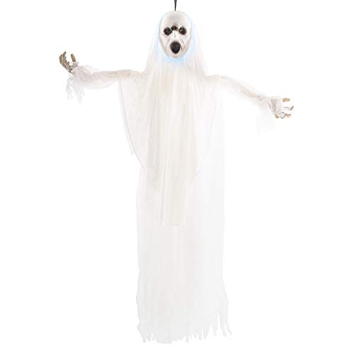 Alive Not Dead Halloween Party (Halloween Haunters Animated 5 Foot Hanging White Screaming Ghost with Strobing Light & Voice Prop Decoration - Zombie Ghoul Face - Haunted House Graveyard Entryway)