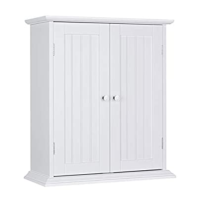 ChooChoo Bathroom Medicine Cabinet 2-Door Wall Cabinet Wood Hanging Cabinet with Adjustable Shelves White