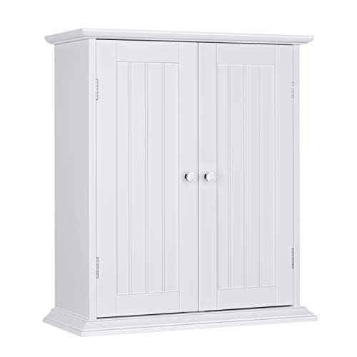 ChooChoo Bathroom Medicine Cabinet 2-Door Wall Cabinet Wood Hanging Cabinet with Adjustable Shelves White (Best Medicine For Worrying)