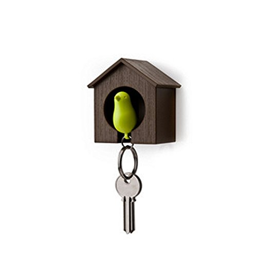 SPHTOEO Key Ring - Brown House with Green Bird