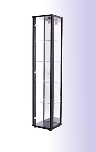 Standvitrine Glasvitrine Spiegel Beleuchtung Vitrine Schwarz mit Spiegel