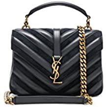 Yves Saint Laurent Medium Black College Patchwork Suede Leather Shoulder Bag New