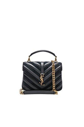 Yves Saint Laurent Medium Black College Patchwork Suede Leather Shoulder Bag New from Yves Saint Laurent