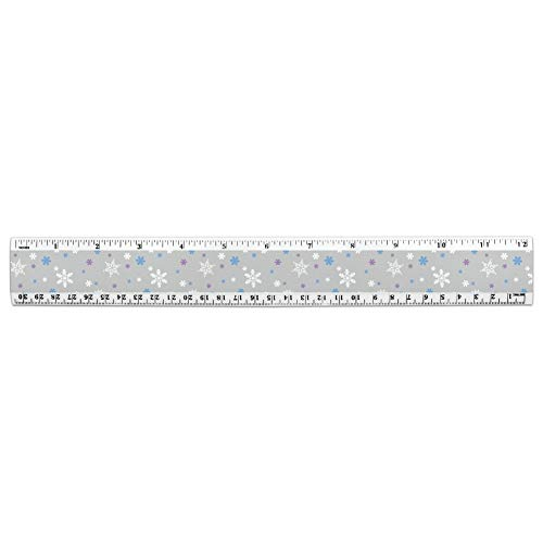Winter Snowflakes Blue Purple Gray 12 Inch Standard and Metric Plastic Ruler