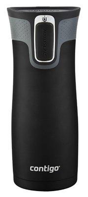 Ignite Usa WLD100J01 Spill-Proof Travel Mug, Stainless Steel, Black, 16-oz. - Quantity 6