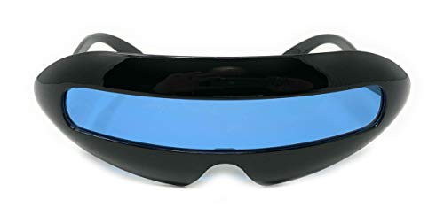 WebDeals - Futuristic Cyclops Single Lens Oval Sunglasses…… (Black Gloss, Light Blue)