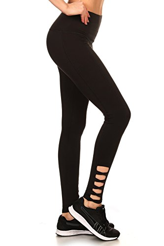 The Clothing Shop Women's Crisscross Cutout High Waist Full Length Leggings (S-XL) Black Medium (Length Cross)