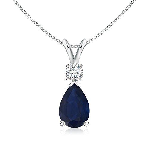 Diamond Blue Sapphire Teardrop Pendant - 3